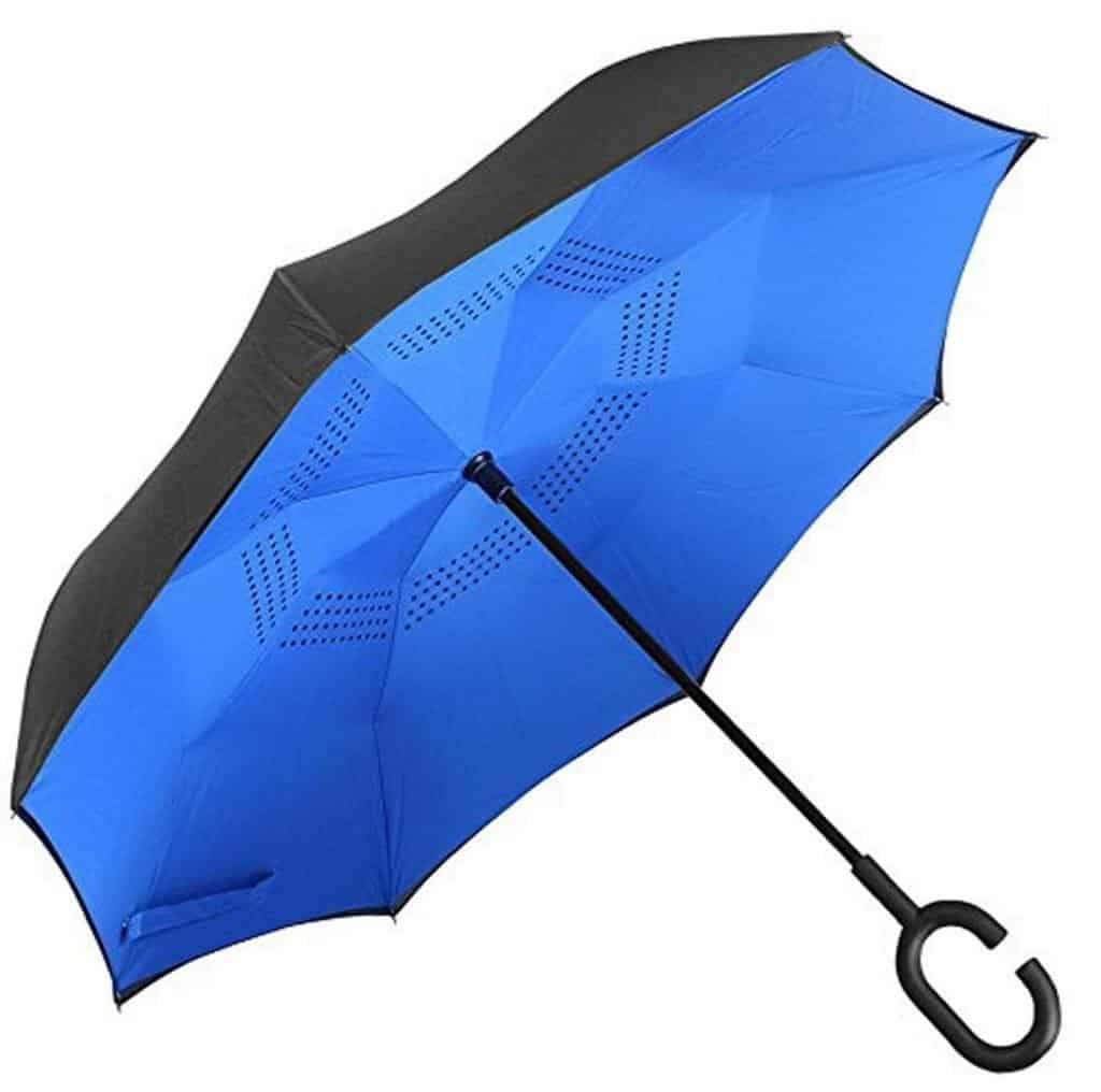 PETRICE Double Layer Inverted Reversible No Drip Umbrella with C Shape Handle (Blue))