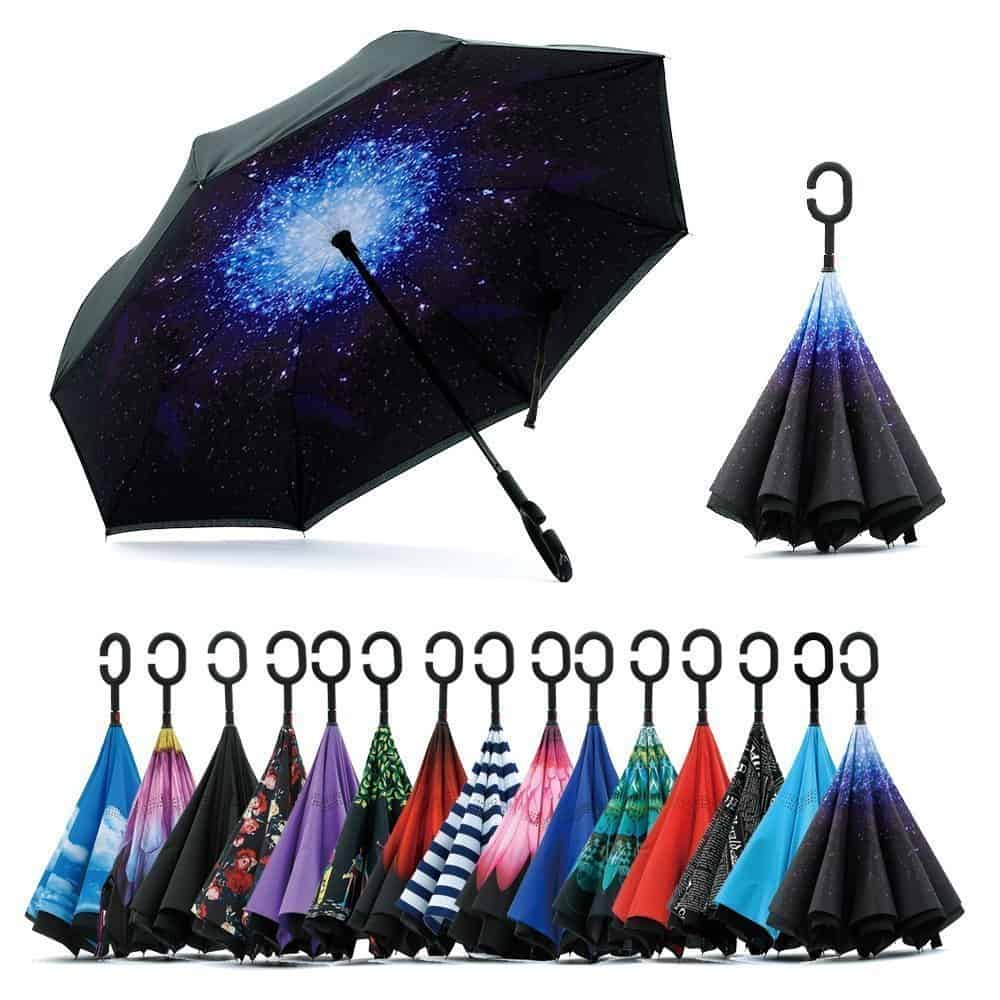DILIP New Fancy Design Double Layer Inverted Umbrella for Car Rain Outdoor with C-Shaped Handle